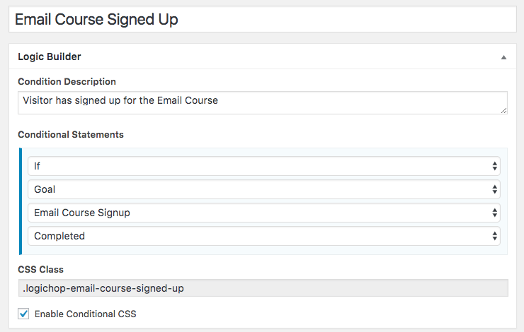 Email Signup Condition