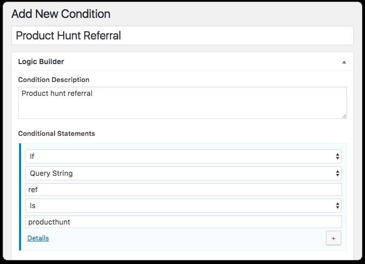 Custom Landing Page - Create Condition