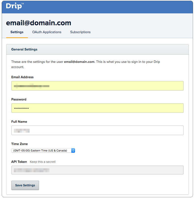Drip API Token