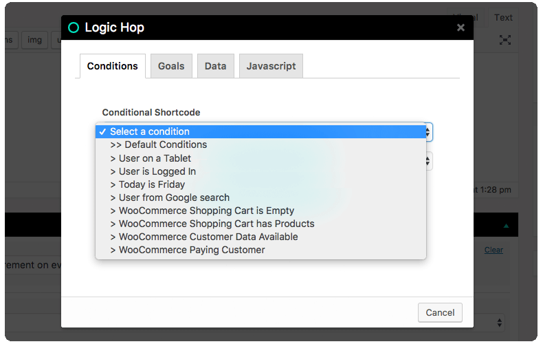 WooCommerce Default Conditions