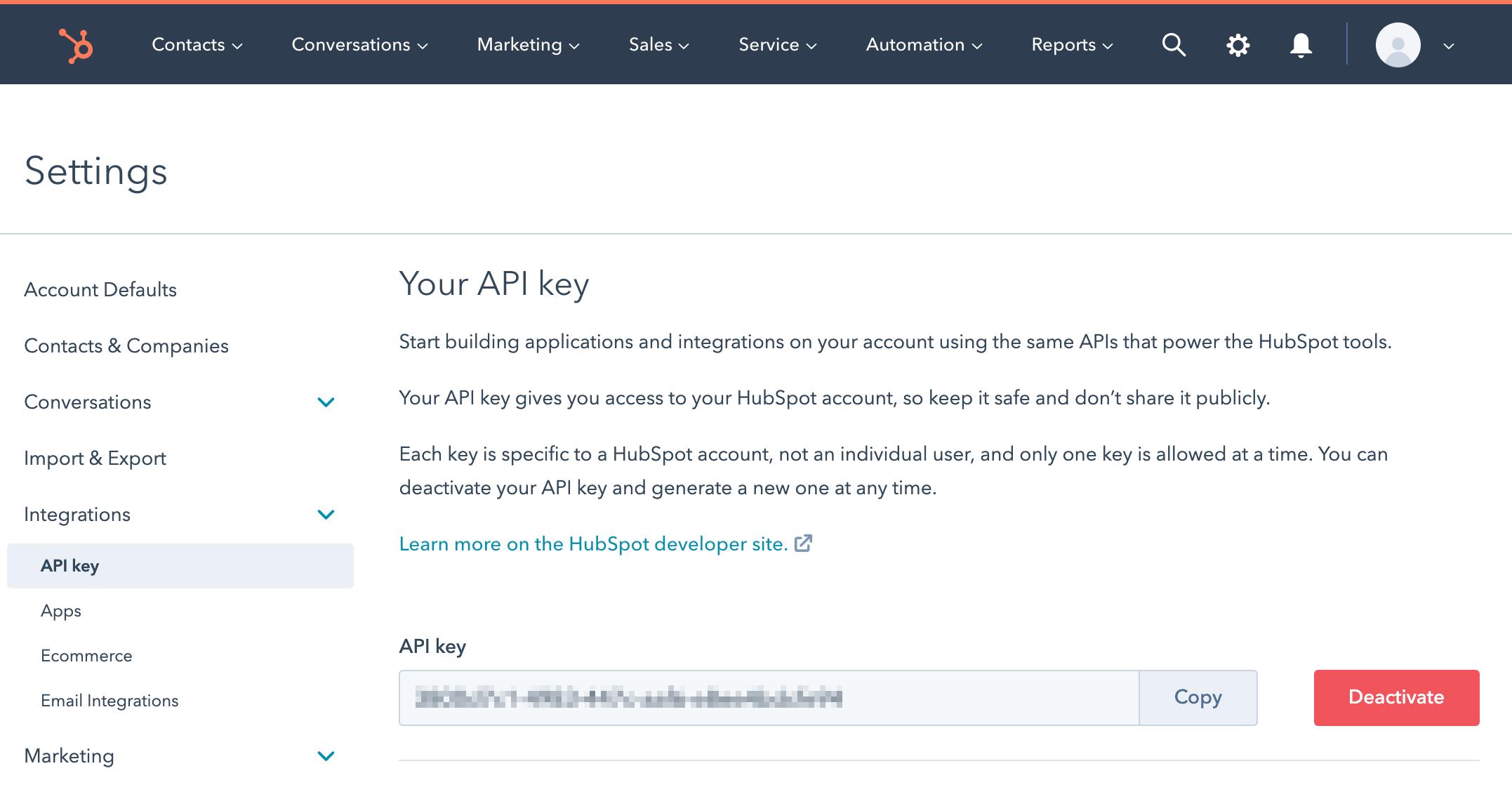 HubSpot API Key