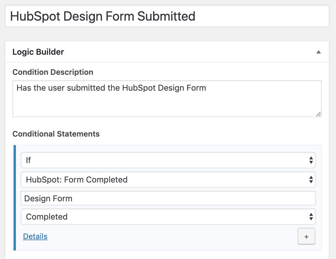 HubSpot Form Completed Condition