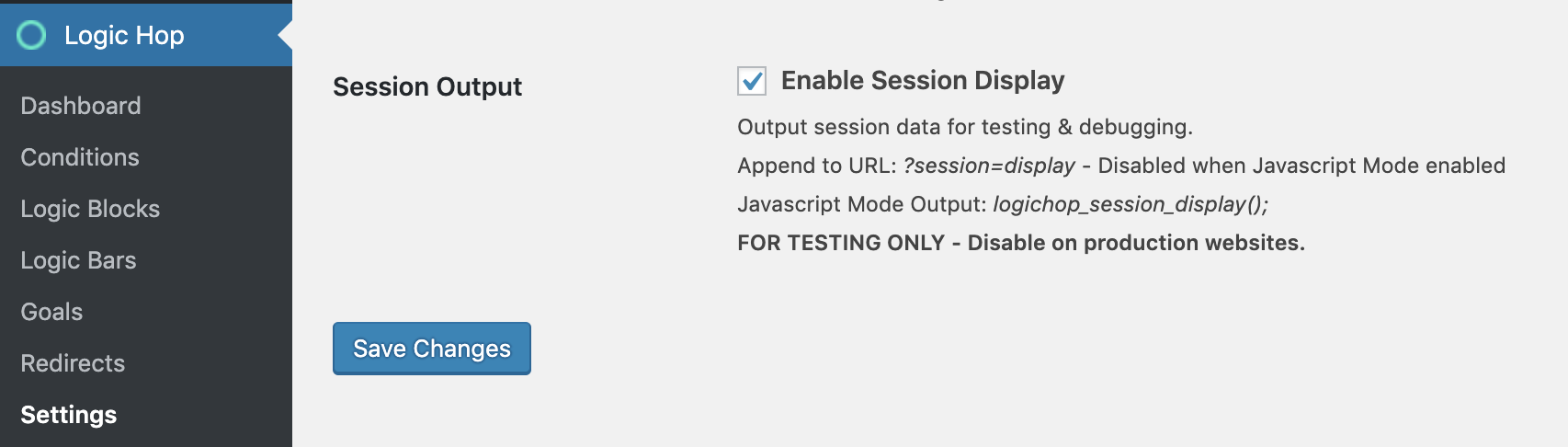 Session Output Enabled
